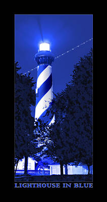 Night Shot Wall Art - Photograph - Lighthouse In Blue by Mike McGlothlen