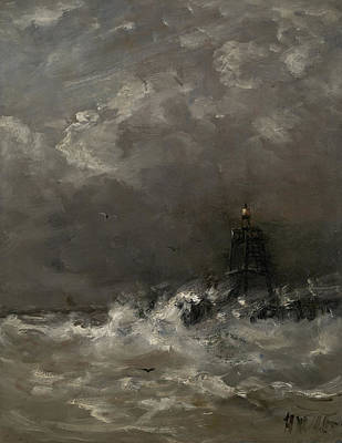 Lighthouse Drawing - Lighthouse In Breaking Waves, Hendrik Willem Mesdag by Litz Collection
