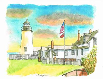Maine Landscapes Painting - Lighthouse In Bristol, Maine by Carlos G Groppa