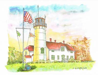 Massachussetts Painting - Lighthouse In Cape Code - Massachussetts by Carlos G Groppa