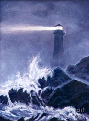 Lighthouse In Dark Art Print