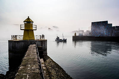 Lighthouse In Reykjavik Harbor, Harpa Art Print by Panoramic Images