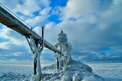 Snowstorm Photograph - Lighthouse In Saint Joseph Michigan by Dan Sproul