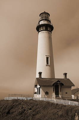Photograph - Lighthouse In Sepia by Tamyra Crossley
