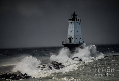 Photograph - Lighthouse In Storm by Ronald Grogan
