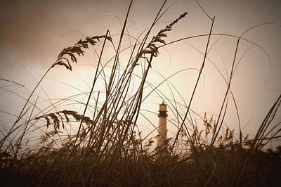 Photograph - Lighthouse In The Distance Inn Sepia by Laurie Perry