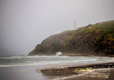 Photograph - Lighthouse In The Fog by Robert Bales