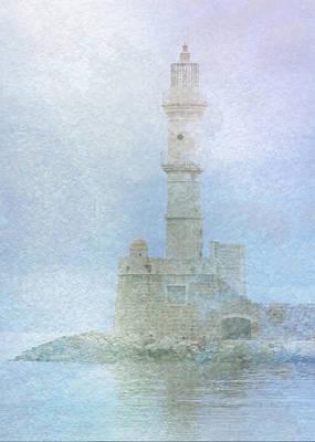 Crete Digital Art - Lighthouse In The Mist by Sarah Vernon