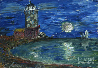 Lighthouse In The Moonlight On The Sea With Sail Boats. Aceo Original by Cathy Peterson