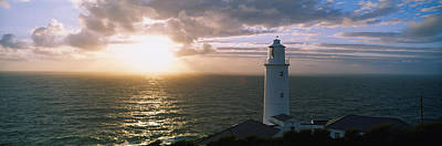 Lighthouse In The Sea, Trevose Head Print by Panoramic Images