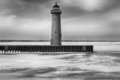 Photograph - Lighthouse In The Wintertime In Bw by Ricky L Jones