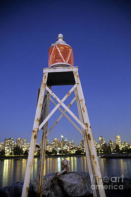 Vancouver Night Scene Photograph - Lighthouse In Vancouver  Canada by Ryan Fox