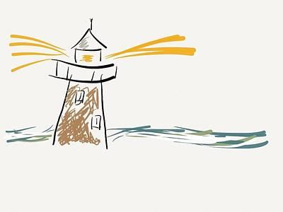 Lighthouse Digital Art - Lighthouse Ink Sketch by Barbara Bellissimo