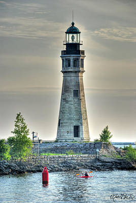 Lighthouse Just Before Sunset At Erie Basin Marina Art Print by Michael Frank Jr