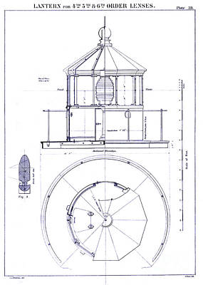 Coast Guard Drawing - Lighthouse Lantern Lense Order Blueprint by Jon Neidert