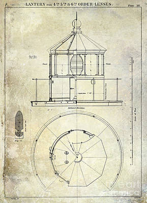 Coast Guard Drawing - Lighthouse Lantern Order Blueprint Antique by Jon Neidert