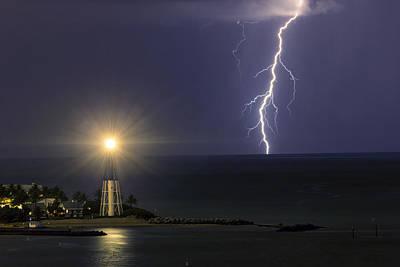Animals Photos - Hillsboro Lighthouse Lightning Strike by Michael  Wolf