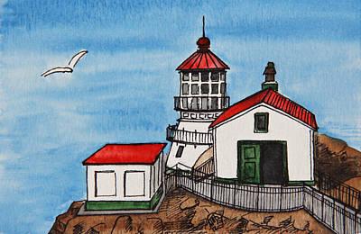 Lighthouse Drawing - Lighthouse by Masha Batkova
