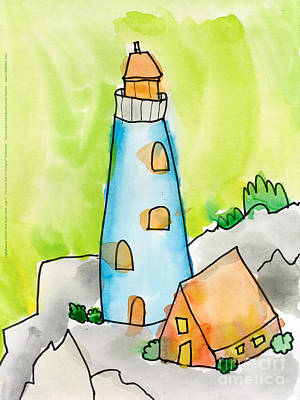 Painting - Lighthouse by Max Kederabek Age Nine
