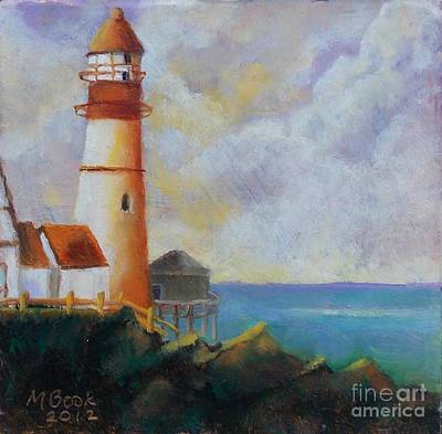 Painting - Lighthouse On Copper Mini by Marlene Book