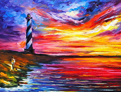 Lighthouse Oil Painting - Lighthouse - New by Leonid Afremov