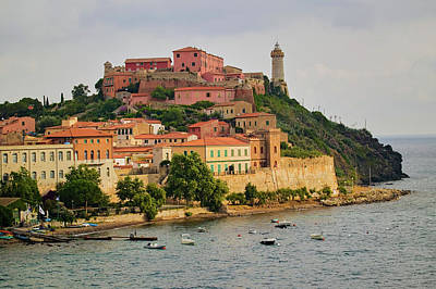 Hill Town Photograph - Lighthouse Of Portoferraio by Panoramic Images