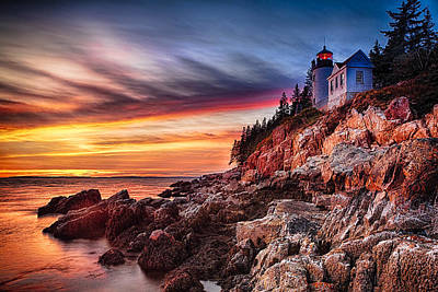 Lighthouse On A Cliff At Sunset Art Print by George Oze