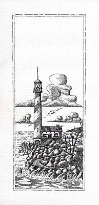 Pointillist Photograph - Lighthouse On A Cliff Pointillist by Weston Westmoreland