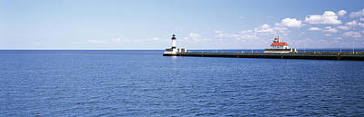 Lake Superior Lighthouse Photograph - Lighthouse On A Pier In A Lake, Lake by Panoramic Images