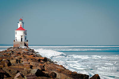 Photograph - Lighthouse On Stone And Ice by Mark David Zahn