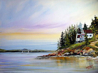 Art Print featuring the painting Lighthouse On The Island by Dorothy Maier