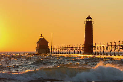 Lighthouse On The Jetty At Dusk, Grand Art Print by Panoramic Images