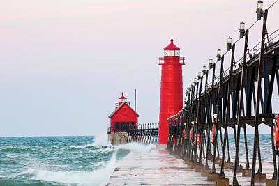 Ottawa Photograph - Lighthouse On The Jetty At Sunrise by Panoramic Images