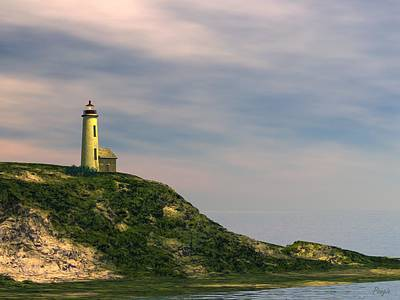 Art Print featuring the digital art Lighthouse Point by John Pangia