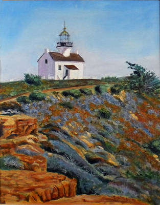 Emphasize Painting - Lighthouse Point Loma  by Brian  Pinkey