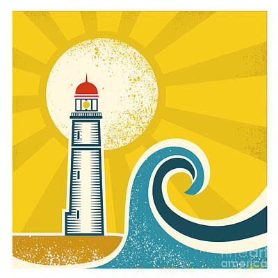 Beacon Wall Art - Digital Art - Lighthouse Poster.vector Vintage by Tancha