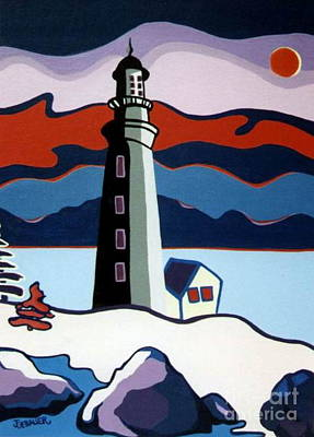 Art Print featuring the painting Lighthouse Red Sky by Joyce Gebauer