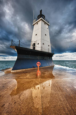 Lake Michigan Photograph - Lighthouse Reflection by Sebastian Musial