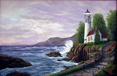 Art Print featuring the painting Lighthouse Retreat by Rick Fitzsimons
