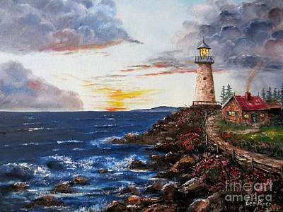 New England Lighthouse Painting - Lighthouse Road At Sunset by Lee Piper