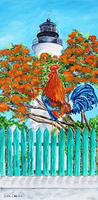 Painting - Lighthouse Rooster II by Linda Cabrera