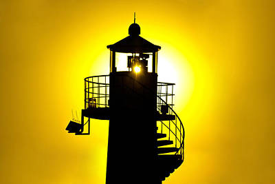 Photograph - Lighthouse Silhouette At Yellow Sunset by Brch Photography