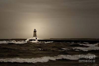 Photograph - Lighthouse Spray by Ms Judi