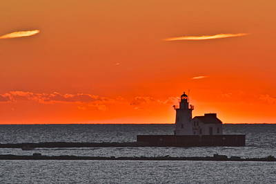 Lighthouse Sunset Art Print by Frozen in Time Fine Art Photography