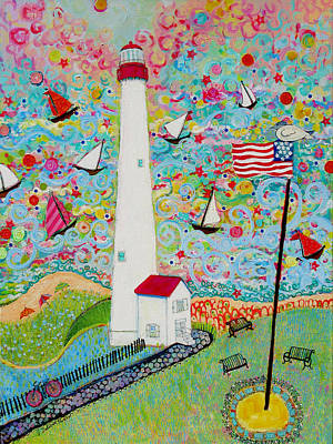 Lighthouse And Sailboat Painting - Cape May Point Lighthouse Magic by Deborah Burow
