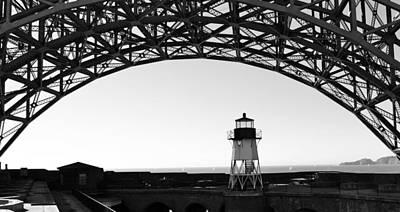 Lighthouse Under Golden Gate Art Print by Holly Blunkall