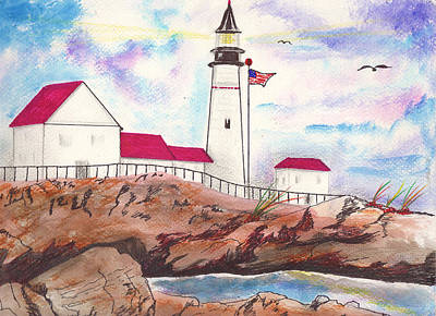 New England Lighthouse Mixed Media - Lighthouse With Colorful Sky by Milton Rogers