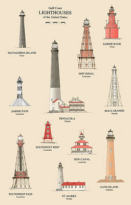 Ocean Scenes Drawing - Lighthouses Of The Gulf Coast by Jerry McElroy - Public Domain Image