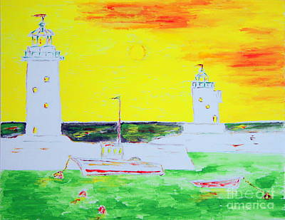 Lighthouses True Trinity Art Print by Richard W Linford