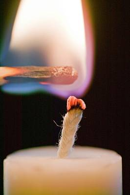 Combustion Photograph - Lighting A Candle With A Match by Ashley Cooper